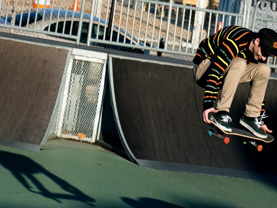 Stevie Williams of Dothan, Ala., skates on Sunday,