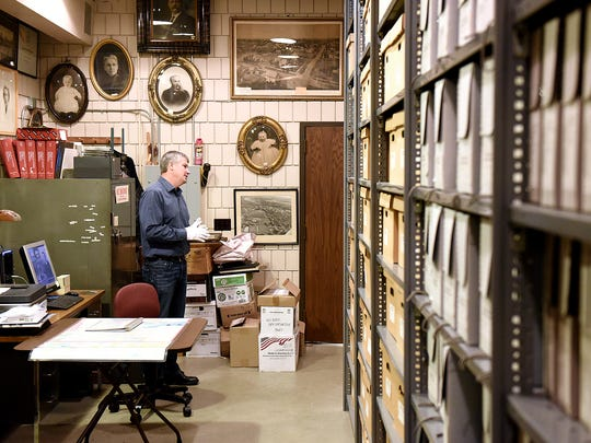 Stearns History Museum head archivist Steve Penick talks about his work in the museum's archive storage room.