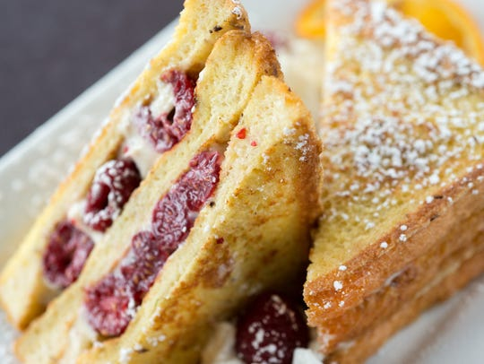 Hicks & McCarthy's stuffed french toast with raspberries