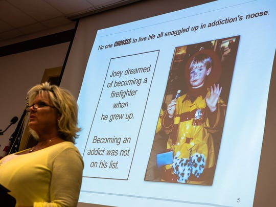 Sandy Swenson, a blogger and author from Texas, shares the story of her son, Joey, and his struggle with heroin addiction Tuesday night May 10, 2016 during the forum You Are Not Alone: A Discussion for Caregivers of Heroin Addicts at Hanover Hospital's York Street Medical Center in Hanover.