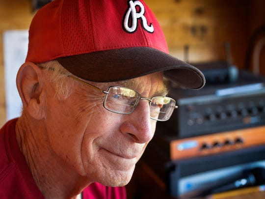 Jack Bell, 84, smiles Tuesday as he reminisces in the press box a bit about the years he's spent announcing for games at the Cold Spring Baseball Park.
