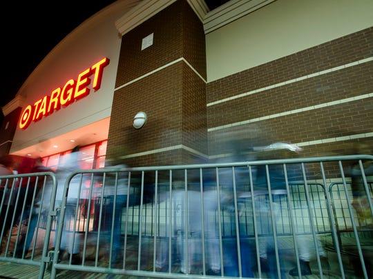Shoppers enter Target in Montgomery, Ala., on Thursday, Nov. 24, 2016.