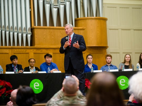 Mayor Todd Strange speaks before students from the area compete in the the Mayor's Cup Academic Challenge on Tuesday, Nov. 29, 2016.