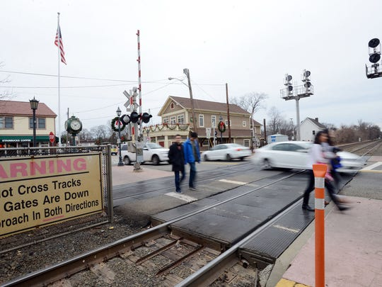 Car traffic often backs up across the tracks at Main Street in Ramsey, creating frequent near-accidents.