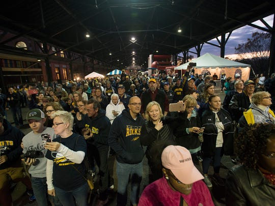 University of Toledo fans watch the marching band, and cheerleading squad perform during the Camellia Bowl Pep Rally on Friday, Dec. 16, 2016, in Montgomery Ala.