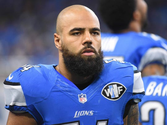 Lions linebacker DeAndre Levy looks on during the first quarter against the Bears on Dec. 11, 2016 at Ford Field.
