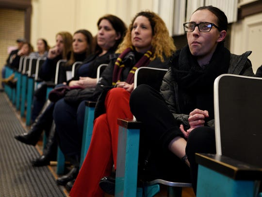Parent Gabrielle Algieri attends a Town Hall meeting  discussing potential construction projects in the Nutley School District at Washington Elementary School, Yantacaw Elementary School, John H. Walker Middle School and Nutley High School. The meeting was held at Yantacaw Elementary School on Tuesday, Jan. 17, 2017.