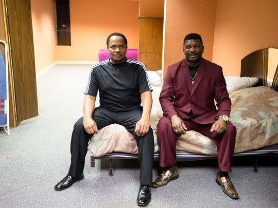 """Bishop William Paul, left, and Bishop Leighton Gordon sit on a chair sit inside living space for homeless veterans on families on Friday, Jan. 13, 2017, in Montgomery, Ala. Formerly called PDI Faith Based Initiative Veterans RePAIR Inc, the nonprofit has been a vision since 2003 and collaborates with nonprofits nationwide to help get veterans back on their feet, working and contributing to society again. The first """"incubator"""" opened in December on the South East Boulevard where RePAIR occupies the same space as other nonprofit organizations for housing, clothing, jobs, counseling and much more."""