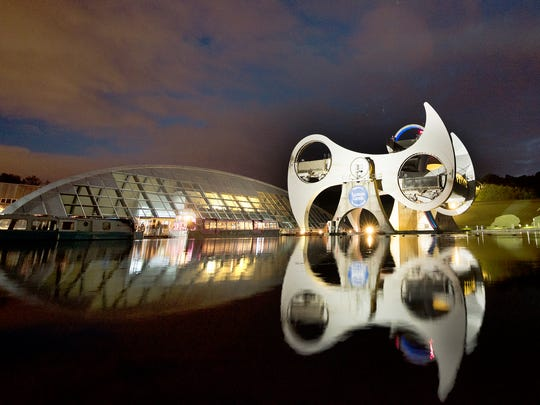 Falkirk Wheel in Scotland, the world's only rotating