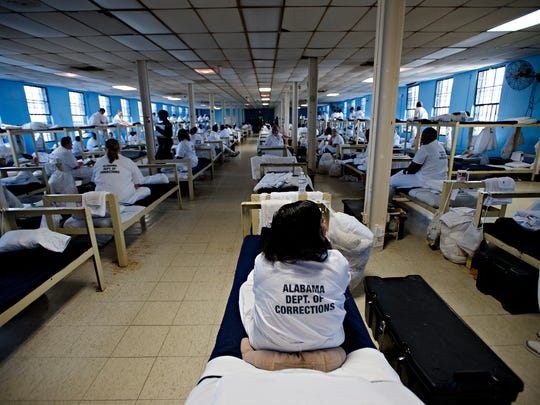 Inmates sits on Their beds at Tutwiler Women's Correction Facility in Wetumpka, Ala., on Monday, Feb. 6, 2017. Tutwiler is Alabama's second oldest corrections facility.