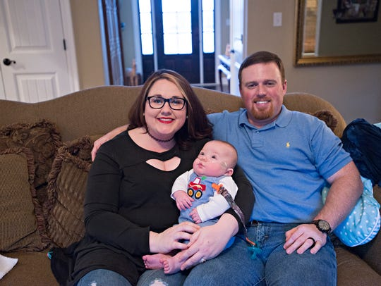 Grayson Burdette, a 6-month-old who was born 12 weeks