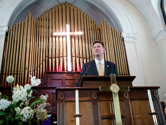 John Merrill, Alabama Secretary of State, speaks during the 52nd Selma Bridge Crossing Jubilee Brown Chapel Bloody Sunday Service on Sunday, March 5, 2017, in Selma, Ala.