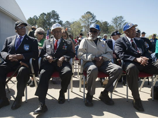 From left, Tuskegee Airmen James Shipley, Leslie Edward Ted Lumpkin and Levi Thornhill all look on during the Tuskegee Airmen 75th Anniversary celebration on Tuesday, March 22, 2016, at Moton Field in Tuskegee, Ala.