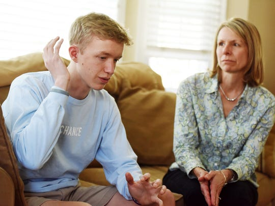 Josh Schultz, 18 and his mother Sandy Schultz discuss the diagnosis and treatment of Josh's osteoblastoma, a benign bone tumor. The tumor was located near Josh's right ear and resulted in hearing loss in that ear. His scar is hidden under his hair.