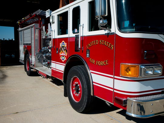 A fire truck at the National Guard fire station at