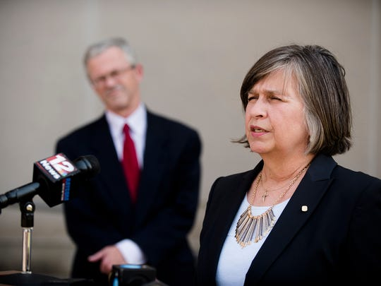 Lorie Mullins, COPE Pregnancy Center executive director, speaks to reporters during a press conference on Wednesday July 19, 2017, in Montgomery Ala. Mullins spoke against a recent court decision allowing a 12-year-old incest and rape victim to choose to have an abortion.