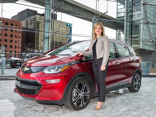 General Motors Chairman and CEO Mary Barra with a Chevrolet