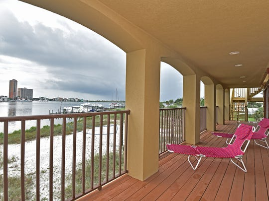 262 Sabine Drive, the balcony overlooks Sabine Bay.