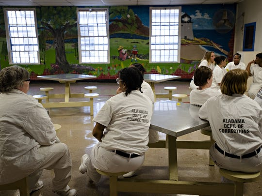 Inmates sit in the visitation area at Tutwiler Women's Correction Facility in Wetumpka on Feb. 6, 2017. Tutwiler is Alabama's second oldest corrections facility.