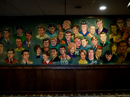 A 33-foot mural painted the 1960s, photographed on