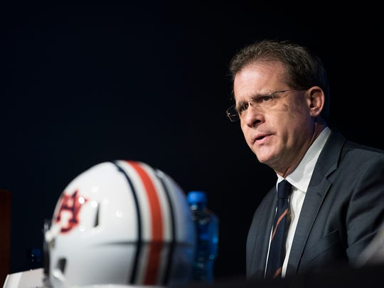 Auburn head coach Gus Malzahn speaks during the SEC Championship coaches press conference on Friday,Dec. 1, 2017, in Atlanta, Ga.