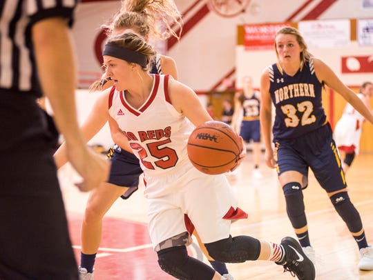Port Huron's Nicole Mallory maneuvers the basketball