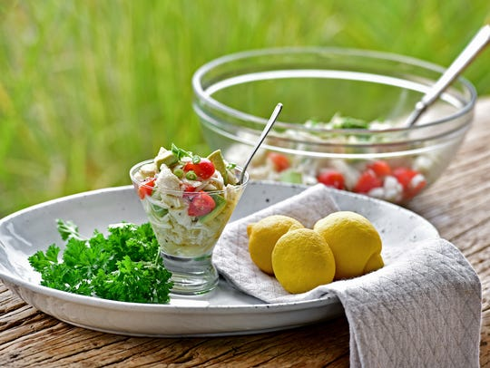 Marinated lump crab is a healthy option that is high in protein, selenium, phosphorus and low in calories and fat.