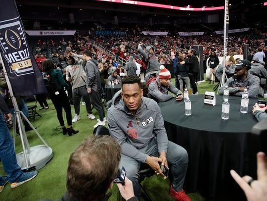 Alabama linebacker Mack Wilson  (30) speaks during