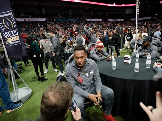 Alabama linebacker Mack Wilson  (30) speaks during the National Championship Media Day in Atlanta, Ga., on Saturday, Jan. 6, 2018.