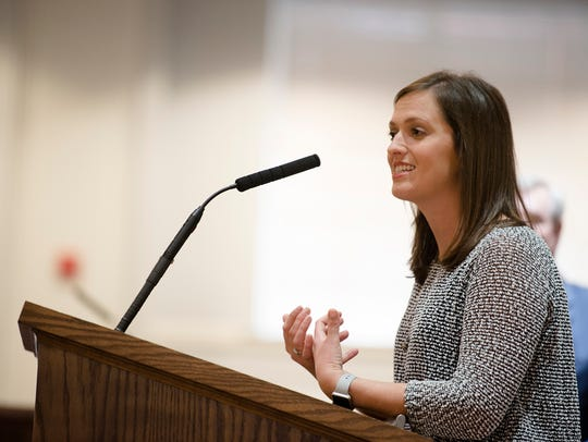 Bethany Garth, a Montgomery parent, speaks during a