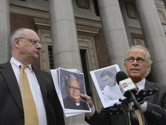 Attorneys Jeffrey Anderson, right, and Mike Bryant, shown in March of 2016, represent the majority of people who have file sexual abuse civil claims against the St. Cloud Diocese.