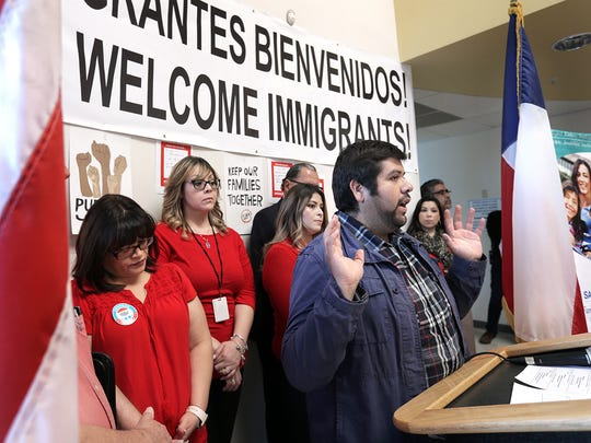 DACA recipient Roberto Valadez speaks along side El Paso area leaders as they urge Congress to fully fund health centers like San Vicente Family Health Center.