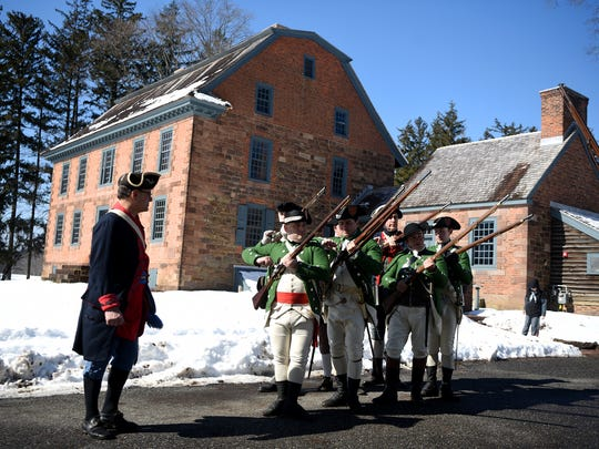 "Members of the ""Hearts of Oak,"" an independent volunteer militia based in the Province of New York, with members including Alexander Hamiliton, before drills at the birthday celebration of George Washington at Dey Mansion in Wayne on Sunday, February 18, 2018."