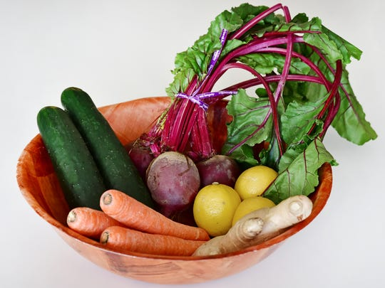 Vegetables ready for juicing.