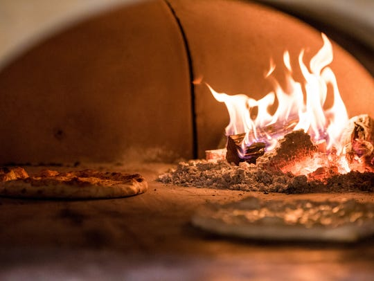 Brick oven at Central Pizza