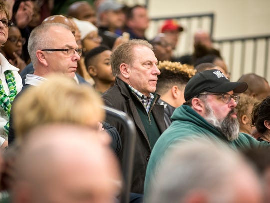 MSU basketball coach Tom Izzo watches the MHSAA Class