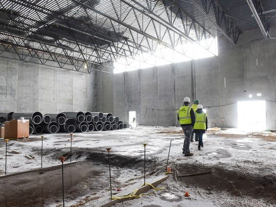 The gymnasium area begins to take shape at the construction site for the new Sartell High School Tuesday, March 20, in Sartell.