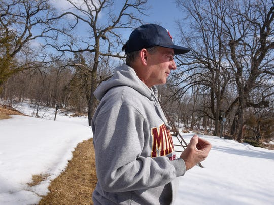 Bill Davison talks about the proposed river drawdown during an interview at his home on the Mississippi River Thursday, March 22, north of Sartell.