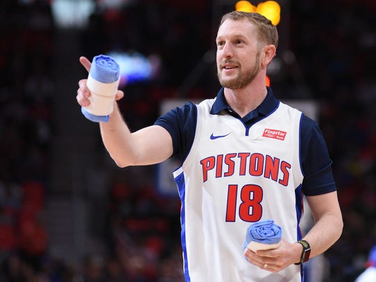 Verizon Indycar Series driver Charlie Kimball during the game between the Detroit Pistons and the Philadelphia 76ers at Little Caesars Arena on April 4, 2018.