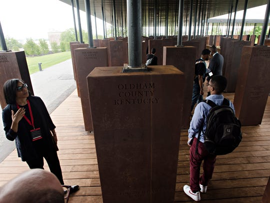 A monument to the lynching victims from Oldham County,  Ky., at EJI's National Memorial for Peace and Justice in Montgomery, Ala., on Monday, April 23, 2018.
