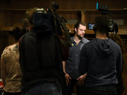 New Jersey Devils forward Drew Stafford speaks with