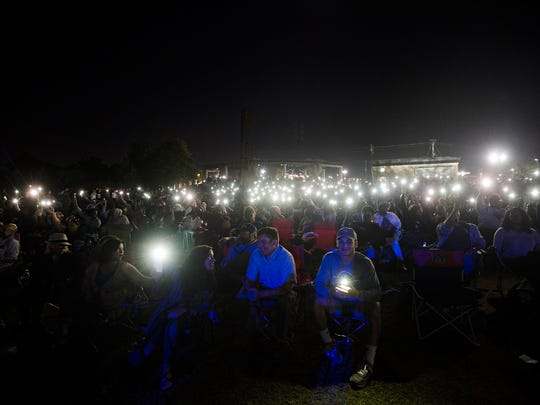 Fans light their phones during the April 27 Concert for Peace and Justice in Montgomery.