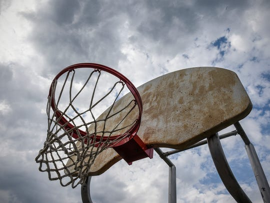 One of the hoops at the basketball court at Northway Park is pictured Friday, May 18, in St. Cloud. The court, constructed in 1982, is one of three finalists for a Our Courts, Our Future rehab program.