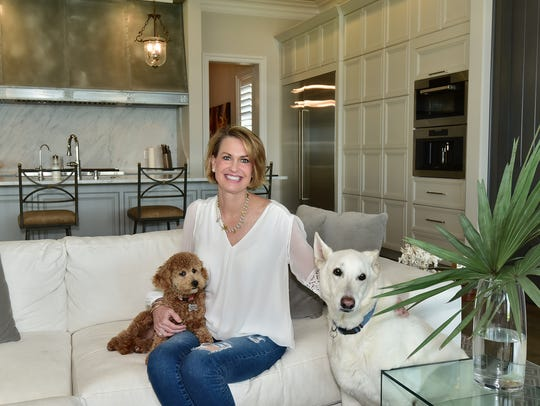 Homeowner Laura Austin with her dogs.