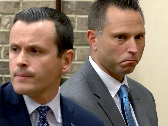 Thomas Tramaglini (right), the Kenilworth Schools superintendent accused of pooping on the track at Holmdel High School, makes his initial appearance in Holmdel Municipal Court Tuesday, June 12, 2018.  He is shown with his attorney Matthew S. Adams.