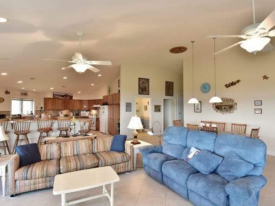 803 Rio Vista Drive, the spacious living area is open