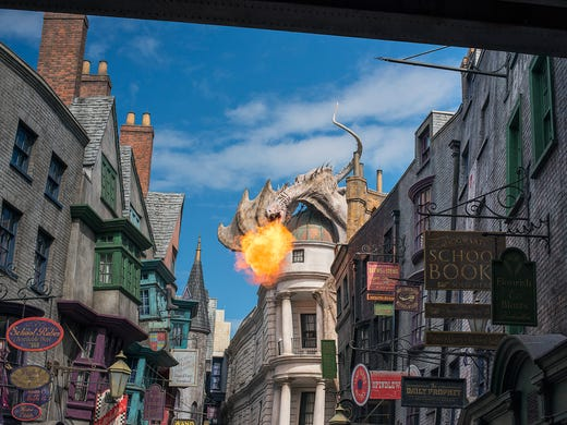 The Diagon Alley dragon lets loose with a ball of fire