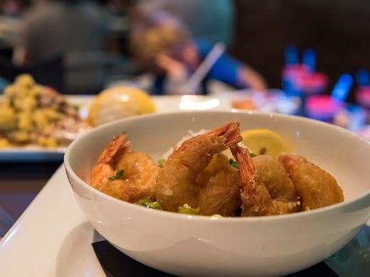 The tempura shrimp at Shark's Underwater Grill is served