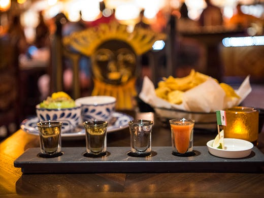Appetizers and a tequila flight with a sangrita palate