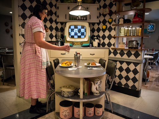 Jenn Havelock serves up an early lunch at 50's Prime